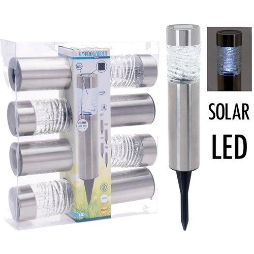 ProGarden Solarlampen LED - RVS + Glas - Set van 4
