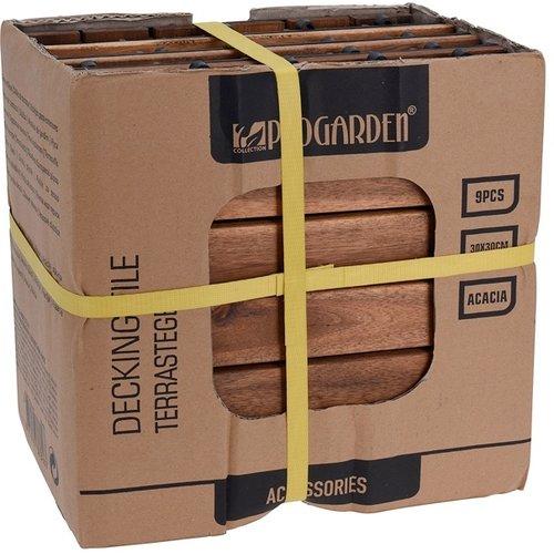 ProGarden Terrastegels acaciahout - set van 9 - 30x30