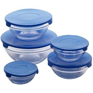 Renberg Glazen Voorraadschalen - 10 schalen + 10 deksels - blauw