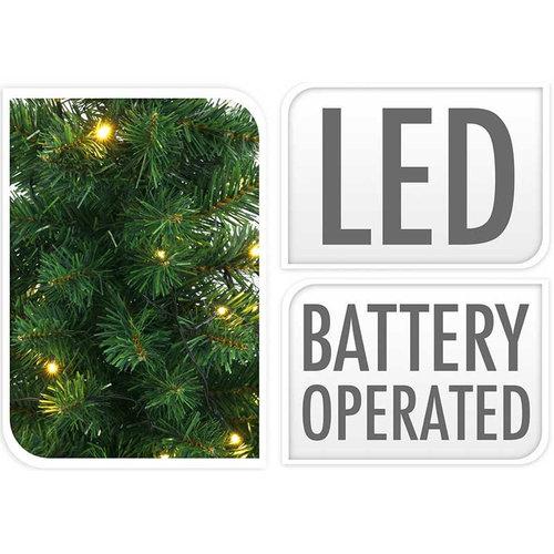 Kerstbomen en kerstkrans met LED - set van 3 stuks