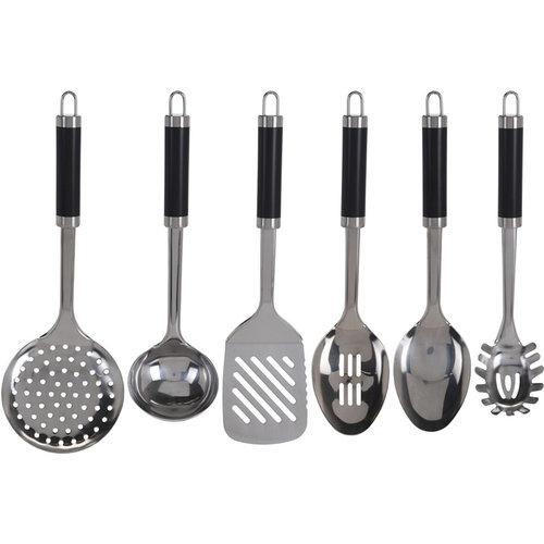 Excellent Houseware Keukengerei - Set van 6 stuks + houder - RVS