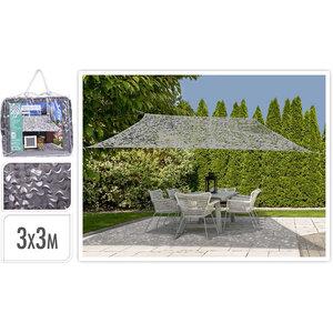 Ambiance Schaduwdoek Camouflage - vierkant 3x3 - lichtgrijs