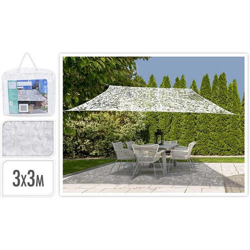 Ambiance Schaduwdoek Camouflage - vierkant 3x3 - wit