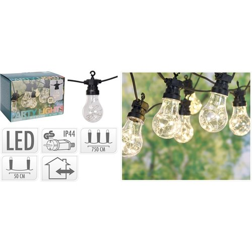 Feestverlichting - 10 lamps - 100 LED - warm wit