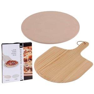 Excellent Houseware Pizza-baksteen met pizza-schep