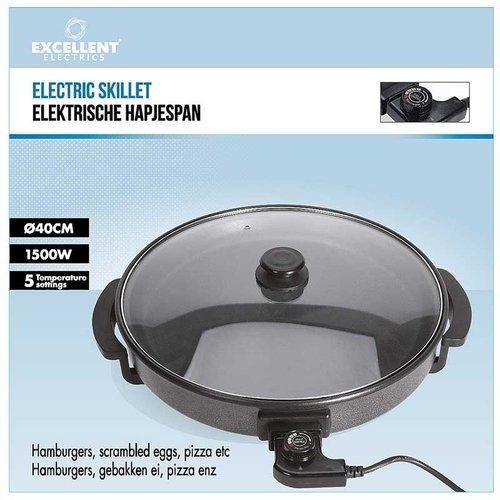 Excellent Houseware Elektrische hapjespan met glazen deksel - 40cm
