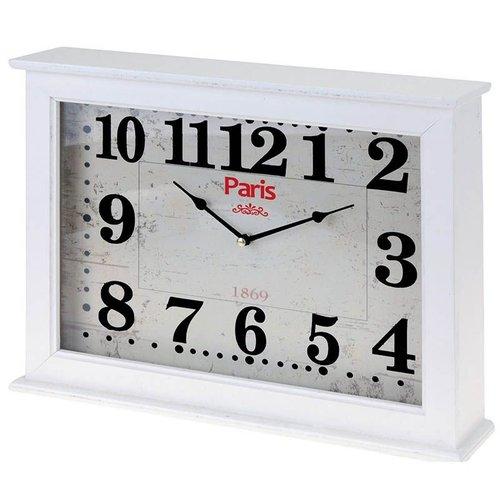 "Home&Styling Home & Styling  Wand / tafelklok ""Paris"" 40x30x8cm  (wit)"