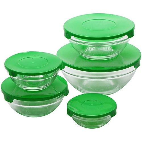 Renberg Glazen Voorraadschalen - 10 schalen + 10 deksels - groen