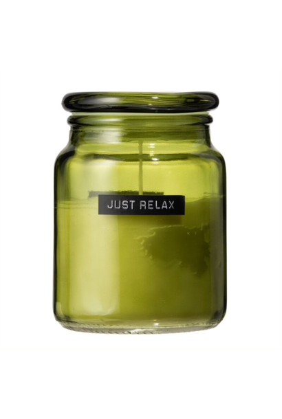 Big fragrance candle fresh linen green glass 'just relax'