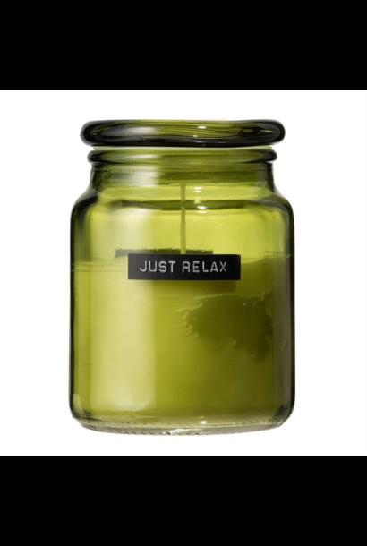 Grote geurkaars frisse linnen groen glas 'just relax'