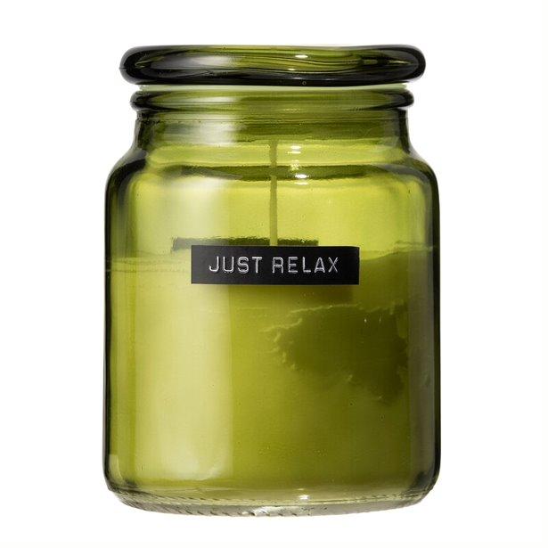 Grote geurkaars frisse linnen groen glas 'just relax'-1