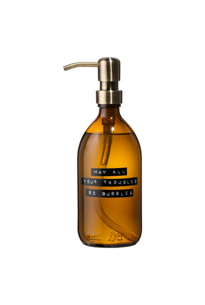 Hand soap bamboo amber glass brass pump 500ml 'may all your troubles be bubbles'