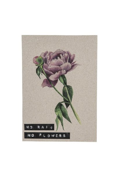 Postcard recycled flower 'no rain no flowers'