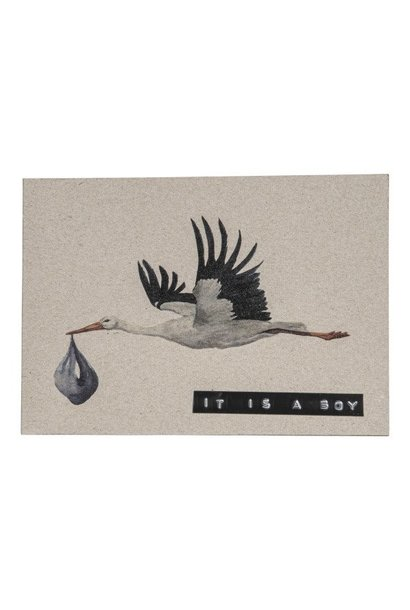 Postcard recycled stork 'it's a boy'