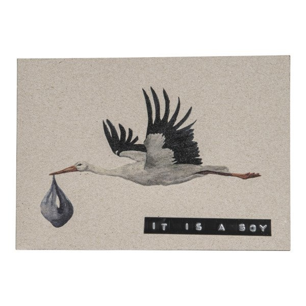 Postcard recycled stork 'it's a boy'-1