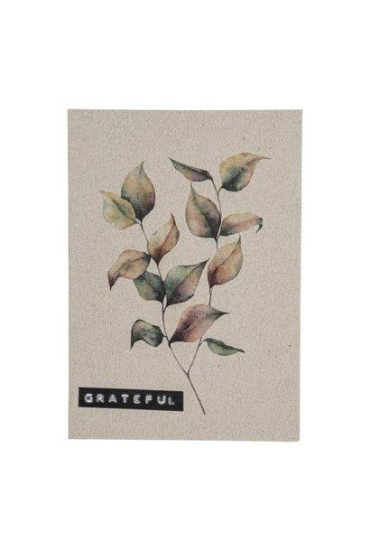 Postcard recycled branch 'grateful'