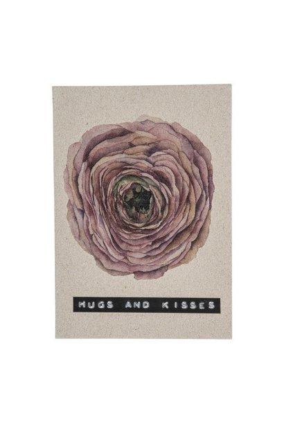 Postcard recycled flower 'hugs and kisses'
