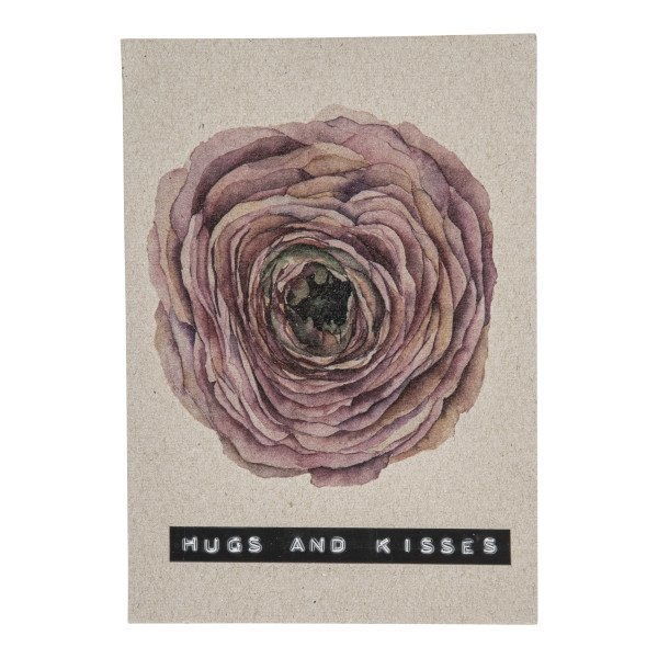 Postcard recycled flower 'hugs and kisses'-1