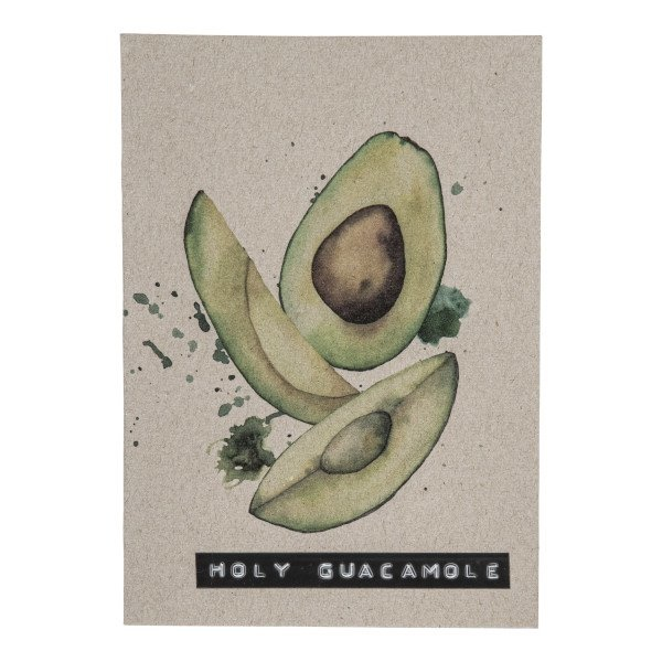 Postcard recycled avocado 'holy guacamole'-1