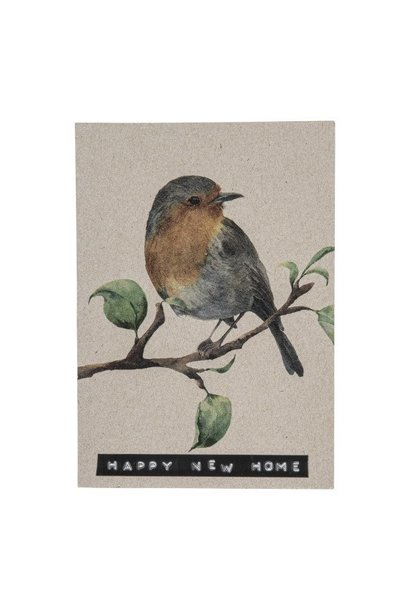 Postcard recycled bird 'happy new home'