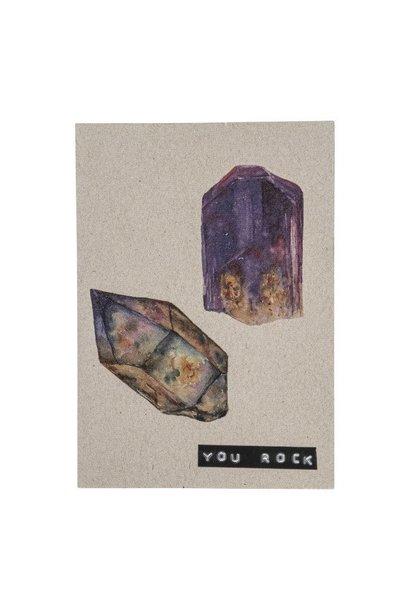 Postcard recyced stones 'you rock'
