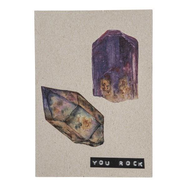 Postcard recyced stones 'you rock'-1