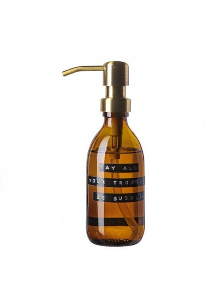 Hand soap bamboo amber glass brass pump 250ml 'may all your troubles be bubbles'