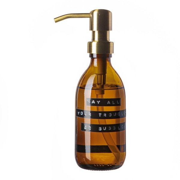 Handzeep bamboe bruin glas messing pomp 250ml 'may all your troubles be bubbles'-1
