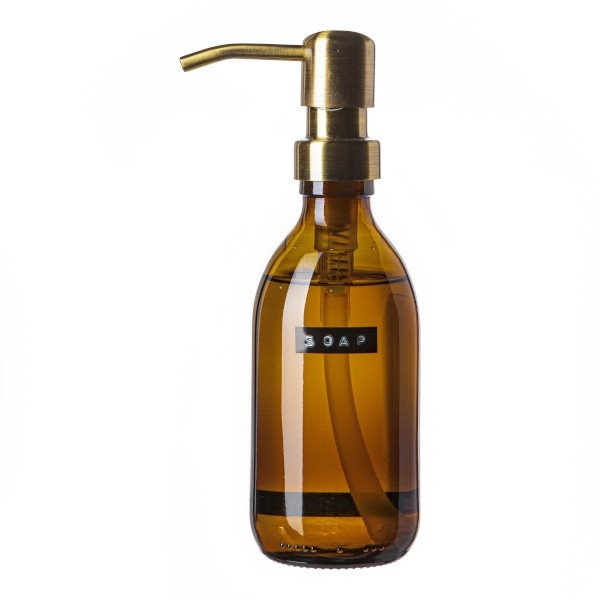 Hand soap bamboo amber glass black pump 250ml 'soap'-1