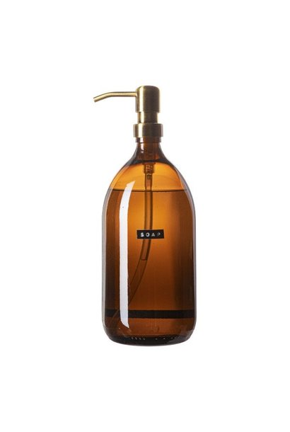 Hand soap bamboo amber glass brass pump 1L 'soap'