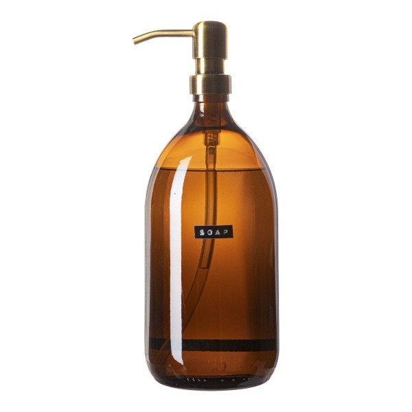 Hand soap bamboo amber glass brass pump 1L 'soap'-1