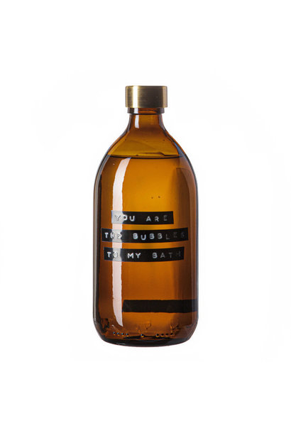 Bath soap bamboo amber glass brass cap 500ml 'you are the bubbles to my bath'
