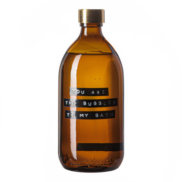 Badzeep bamboe bruin glas messing dop 500ml 'you are the bubbles to my bath'-1