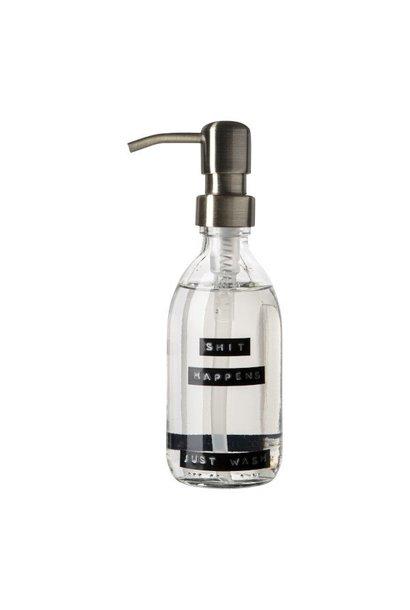 Hand soap fresh linen clear glass brass pump 250ml 'shit happens just wash'
