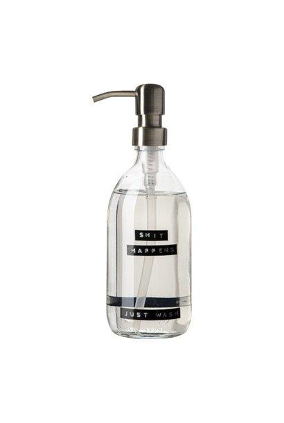 Handzeep frisse linnen helder glas messing pomp 500ml 'shit happens just wash'