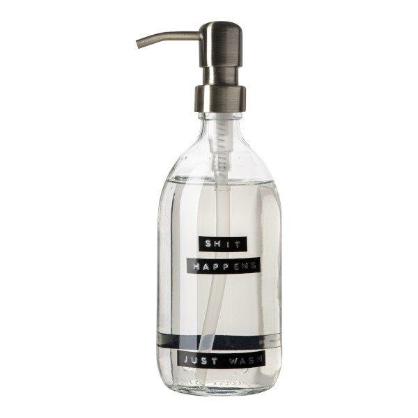 Handzeep frisse linnen helder glas messing pomp 500ml 'shit happens just wash'-1