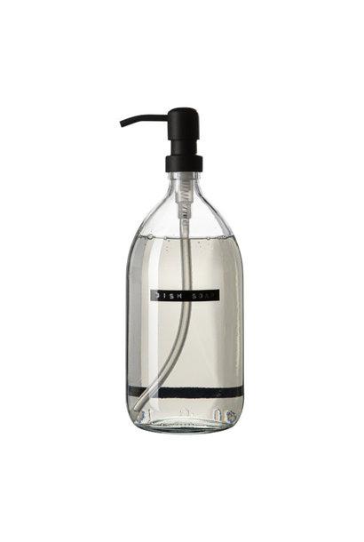 Afwasmiddel bamboe helder glas zwarte pomp 1L 'dish soap'