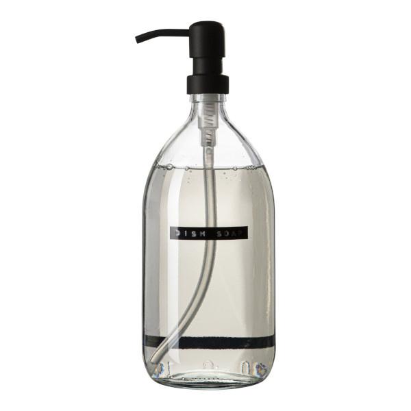 Afwasmiddel bamboe helder glas zwarte pomp 1L 'dish soap'-1