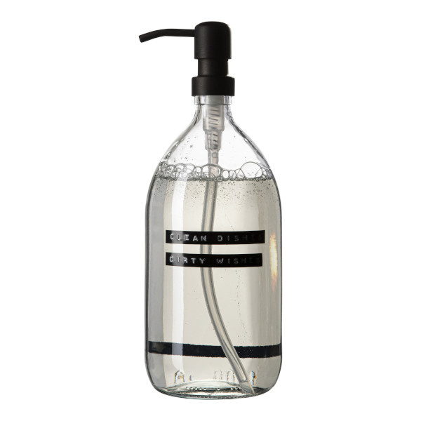 Dish soap bamboo clear glass black pump 1L 'clean dishes dirty wishes'-1