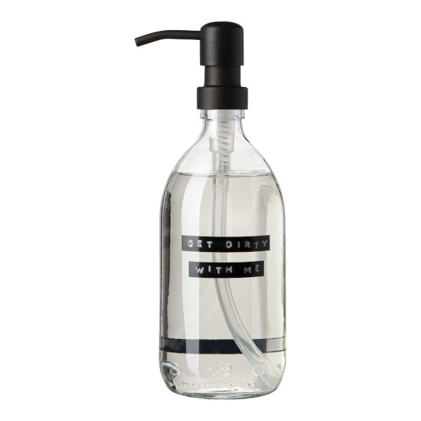 Dish soap bamboe clear glass black pump 500ml 'get dirty with me'-1