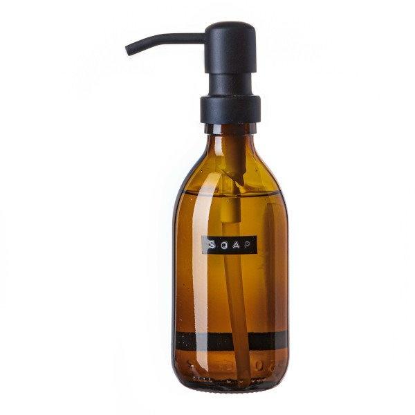 Handzeep bamboe bruin glas zwarte pomp 250ml 'soap'-1