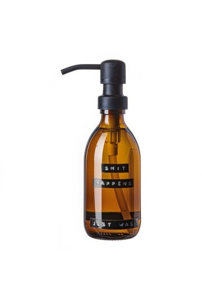 Hand soap bamboo amber glass black pump 250ml 'shit happens just wash'