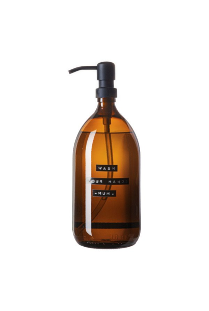 Hand soap bamboo amber glass brass pump 1L 'wash your hands -mum-'