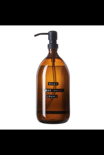 Handzeep bamboe bruin glas zwarte pomp 1L 'wash your hands -mum-'
