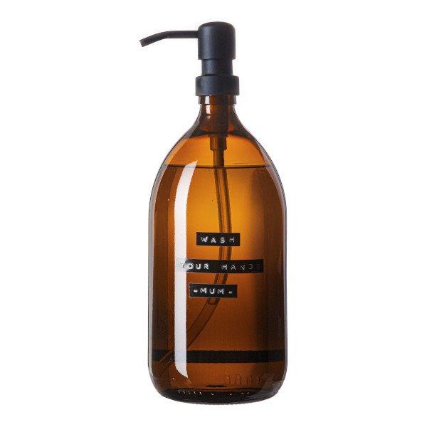 Handzeep bamboe bruin glas zwarte pomp 1L 'wash your hands - mum '-1