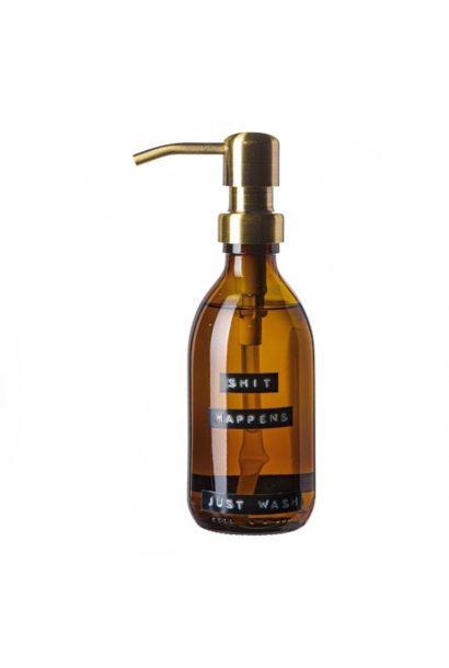 Hand soap bamboo amber glass brass pump 250ml 'shit happens just wash'