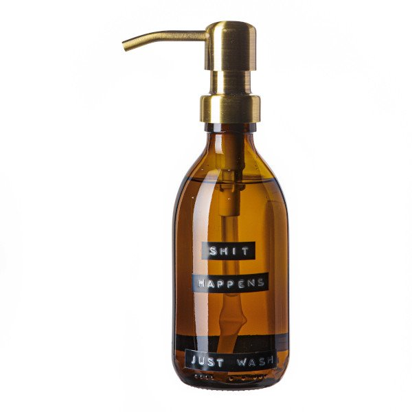 Hand soap bamboo amber glass brass pump 250ml 'shit happens just wash'-1
