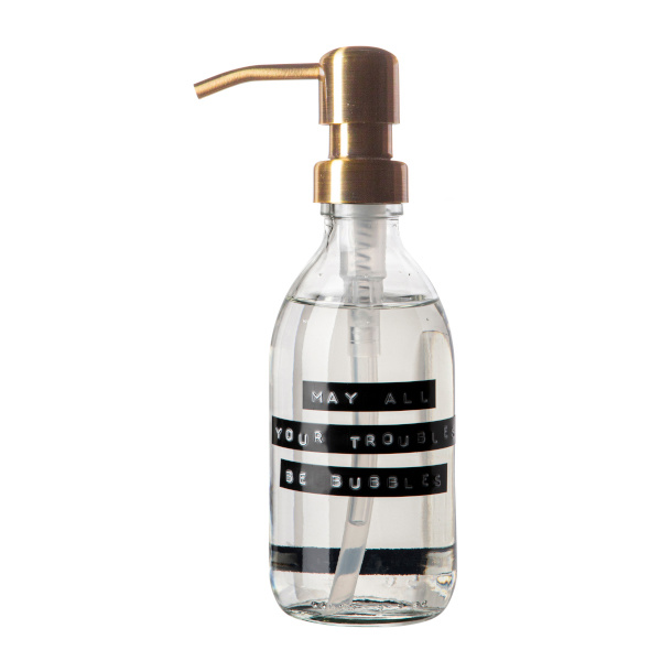 Handzeep frisse linnen helder glas messing pomp 250ml 'may all your troubles be bubbles'-1