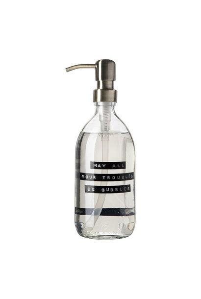 Handzeep frisse linnen helder glas messing pomp 500ml 'may all your troubles be bubbles'