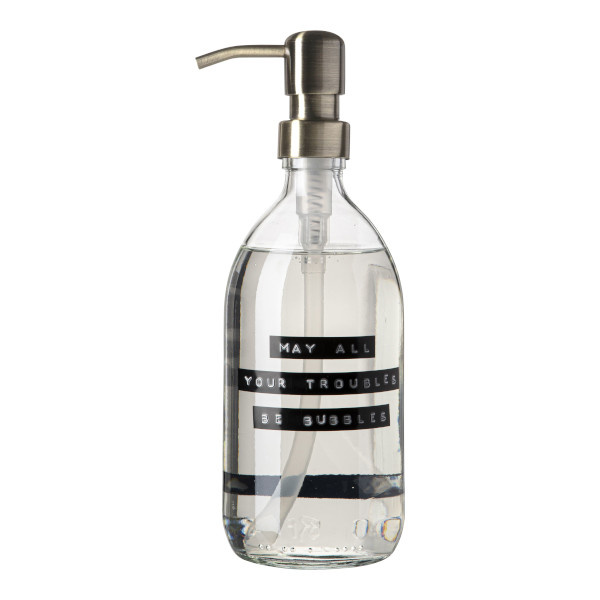 Handzeep frisse linnen helder glas messing pomp 500ml 'may all your troubles be bubbles'-1